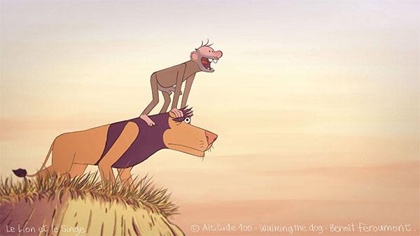 LE LION ET LE SINGE de Benoît Feroumont, 2017, animation, 7'   Dans la savane, il y a très très longtemps, un lion blessé sauve ce qu'il prend pour un petit singe. En retour, le gamin le soigne. Une amitié est née et s'épanouit en parfaite harmonie. Mais l'équilibre est gâché quand le singe découvre le feu, qui, incontrôlable, ravage la plaine et manque de peu de les dévorer.