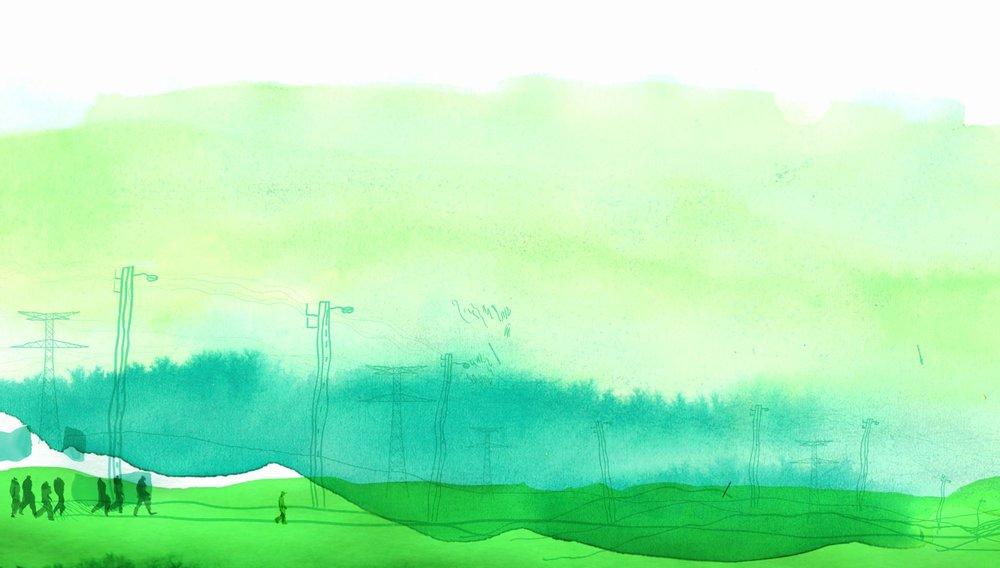 LE MARCHEUR de Frédéric Hainaut, 2017, animation, 11'   Le Marcheur est ouvrier dans une usine aviaire. Dégoûté par son travail abject, il se met en marche et trouve refuge parmi les Indignés. Errant, il dilue sa colère dans la leur.