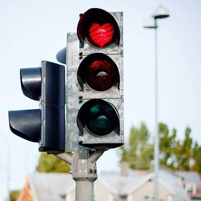 """""""Stop in the name of love"""" Trafficlights in #akureyri ❤️ #lifeiniceland #iceland #myhometown #northiceland"""