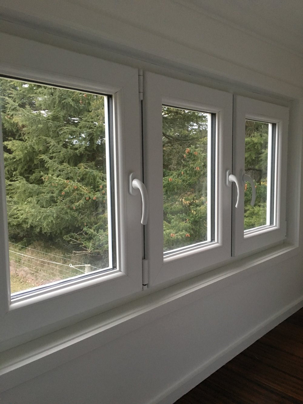 UPVC tilt and turn windows, above the loft of one of our off-grid tiny homes.