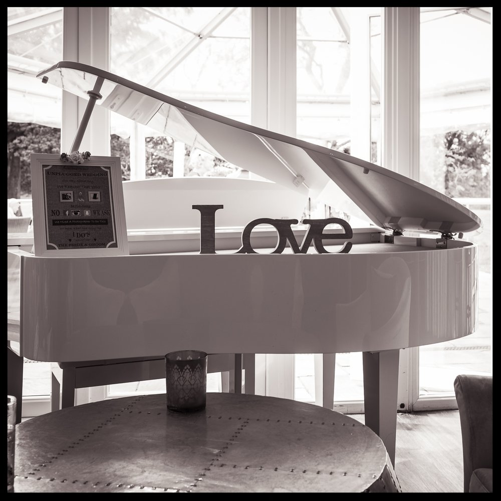 Grand Piano at Oldwalls, Gower, Wales - Wedding Photographer Nick Church Photography