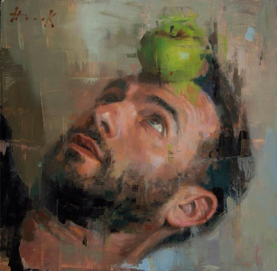 Self portrait with apple green