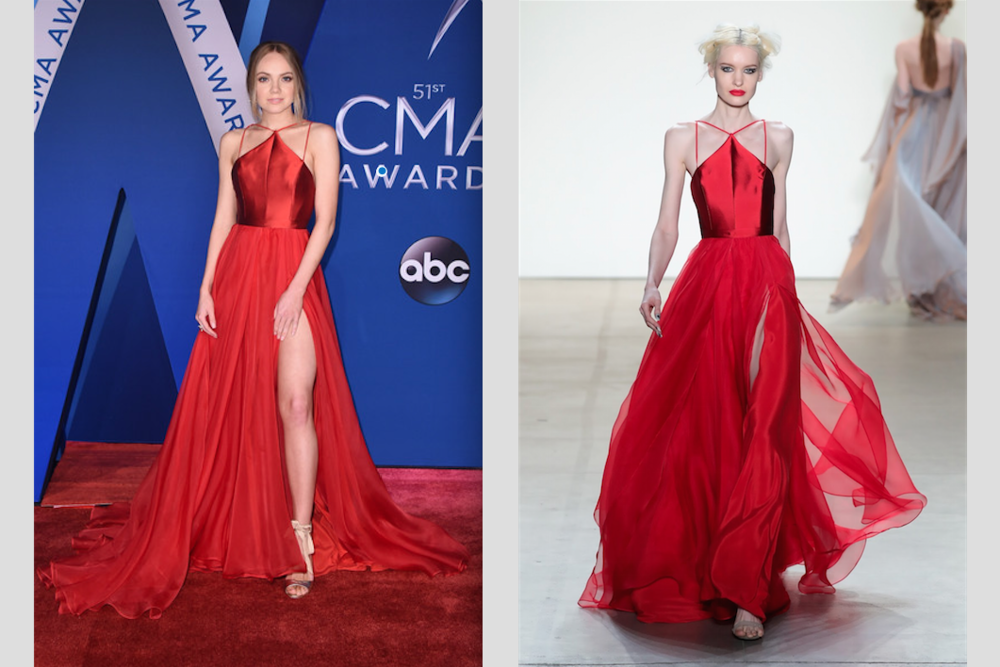 Danielle Bradbery   wearing LM Fall 2017 Red Gown.   See Danielle Bradbery at the CMAs and  CLICK HERE FOR MORE PICTURES