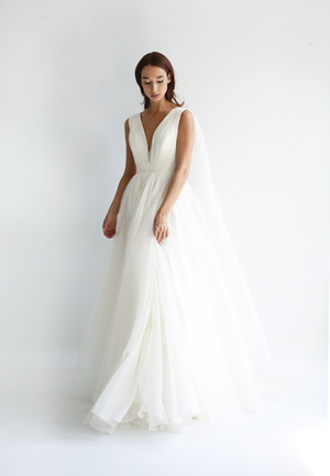 bbbae648bc0b Twyla All ivory silk organza gown -draped plunging neckline and  transitional caped-back