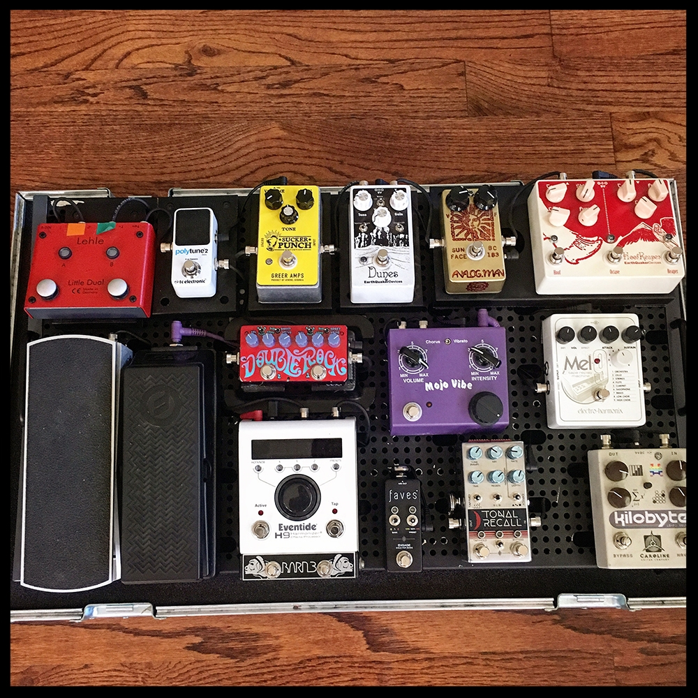 Arun Bali's pedalboard. Photo courtesy of the artist.