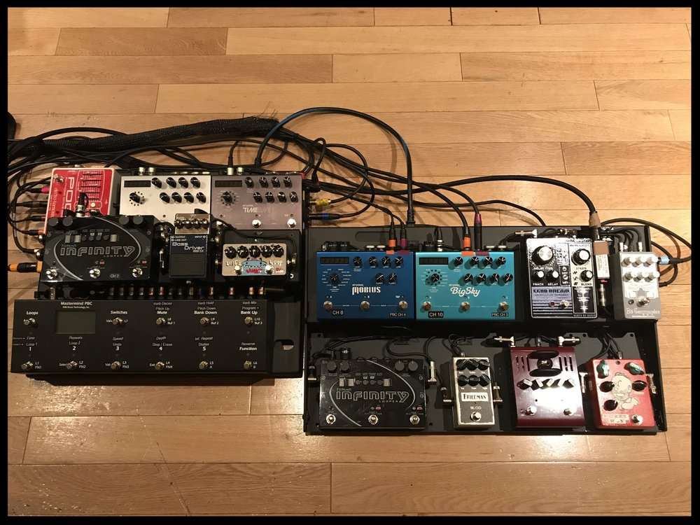George Pajon, Jr's Cairo Knife Fight Pedalboard. Photo courtesy of the artist.