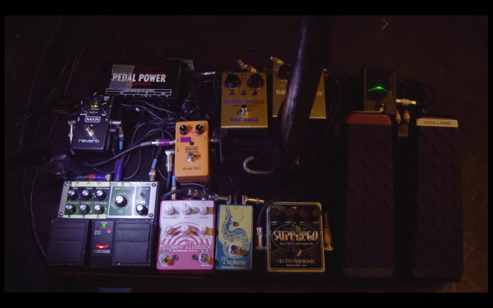Troy's pedalboard with his Rainbow Machine and Tentacle