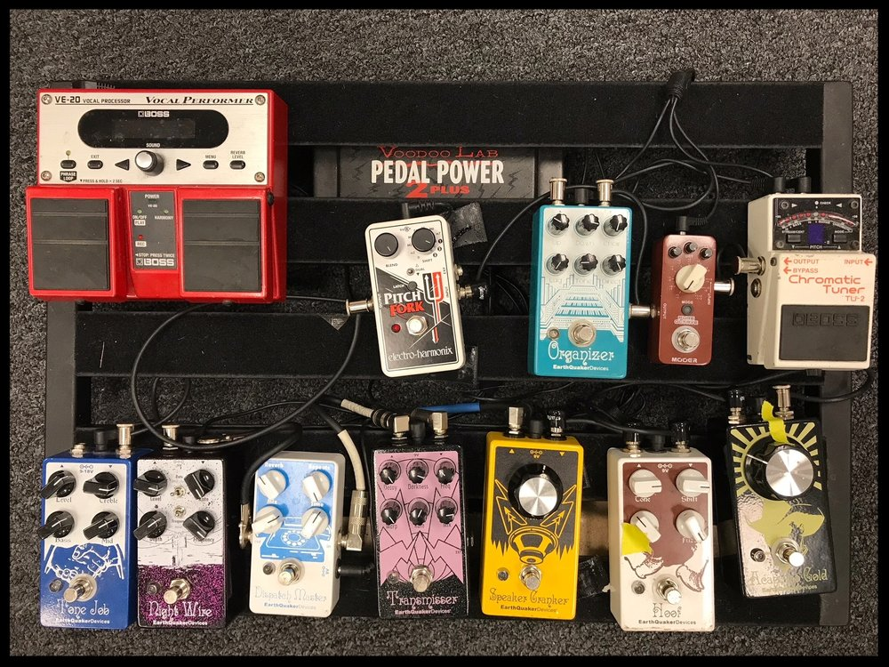 Joe Scott's Relaxer pedalboard. Photo: Joe Scott