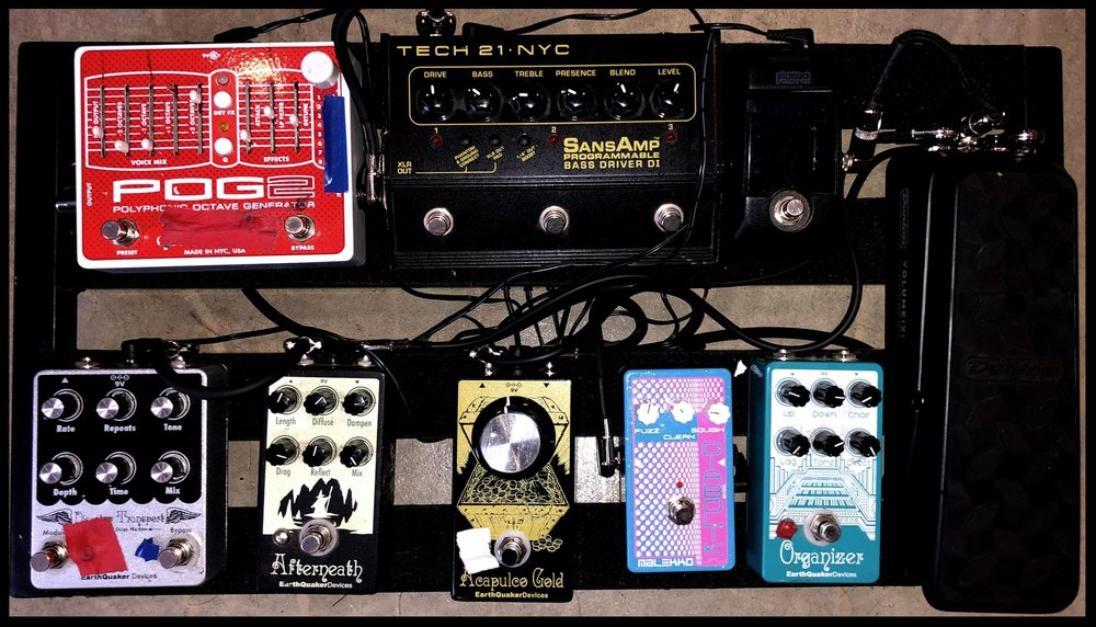 Ben Chisholm's pedalboard with Chelsea Wolfe. Photo: Ben Chisholm