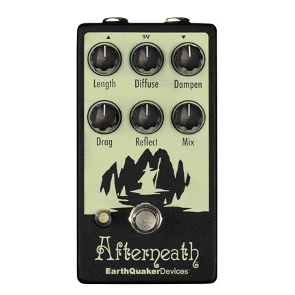 """The Afterneath is one of my favourite reverb pedals. It's an excellent tool for giving an instrument or vocals a very detailed, extra dimension with its massive sounding digital haze. The drag knob is one of the most unique functions I've ever seen on a reverb pedal, it changes the pre-delay while shifting the pitch of the reverb, it's a mesmerising sound. This pedal packs a serious punch for only having 6 knobs."""