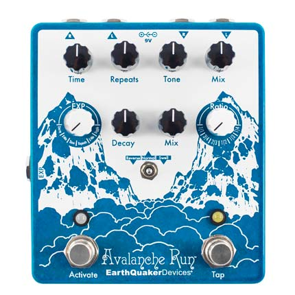 """The Avalanche Run is a bit of a magical realm within itself. It's a gorgeous delay/reverb pedal with a tape vibe. It's packed full of functionality too, it has so much to play around with as well as some secret functions for only to be found the noblest adventurers (or you can just google it). The expression pedal is probably the coolest function, it gives you so much control over the parameters (time, repeats, reverb controls). It's great sounding, flexible, work-horse with a vintage sound."""