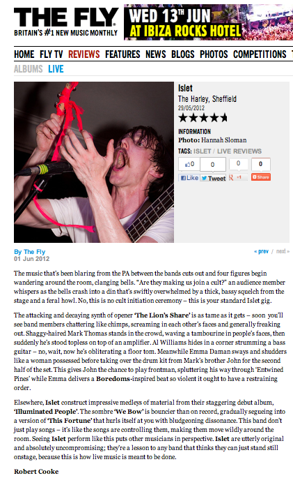 The Fly - live review 2012