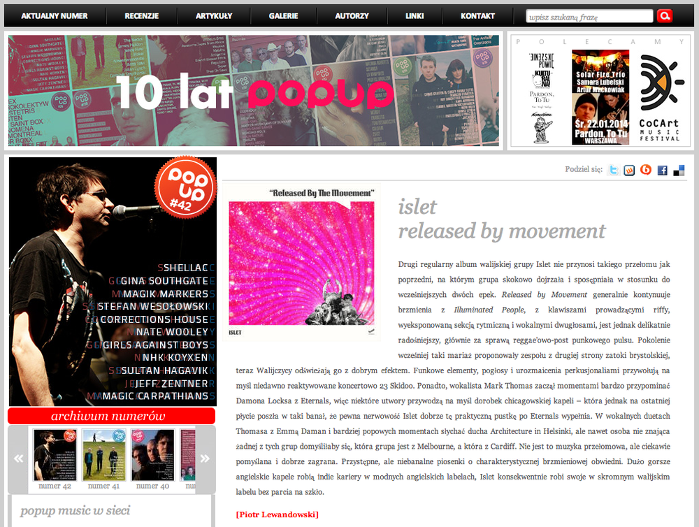 Islet - Pop Up album review (Poland)