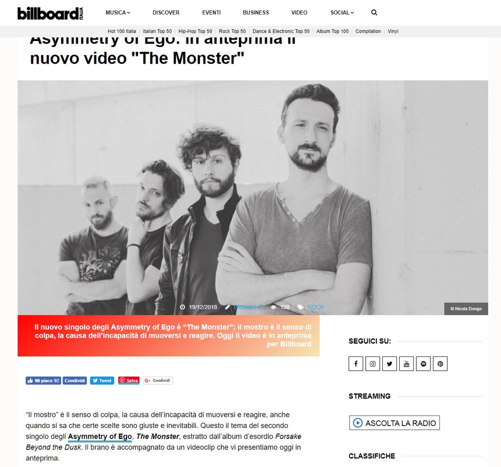 Foto pubblicata su Billboard Italia