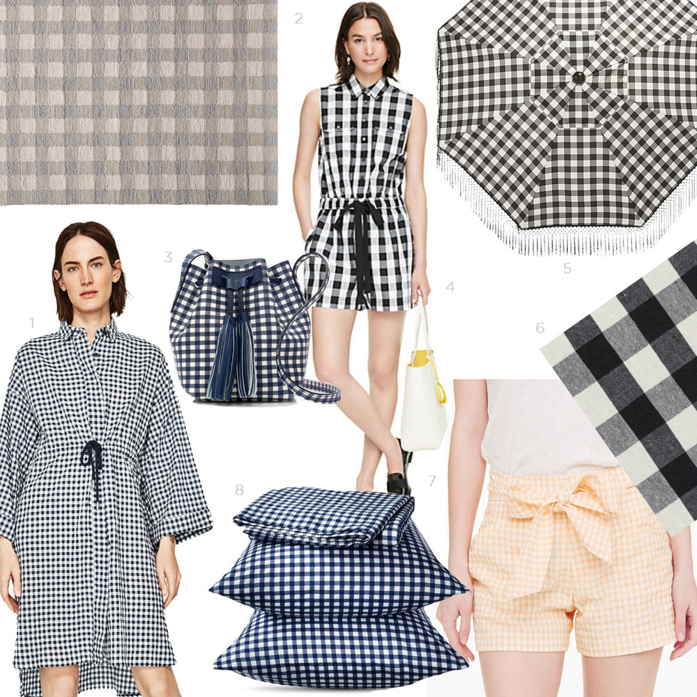 1- Gingham Oversized Dress- Zara.  2- Gingham Rug- Target.  3- Mini Bucket Bag in Gingham- J Crew.  4- Gingham Romper- Kate Spade.  5- Poleng Gingham Umbrella- CB2.  6-Ralph Lauren Gingham Fabric- Available through Plum.  7- Valencia Gingham Shorts- Club Monaco.  8- Elite Home Gingham Sheet Set- Target.