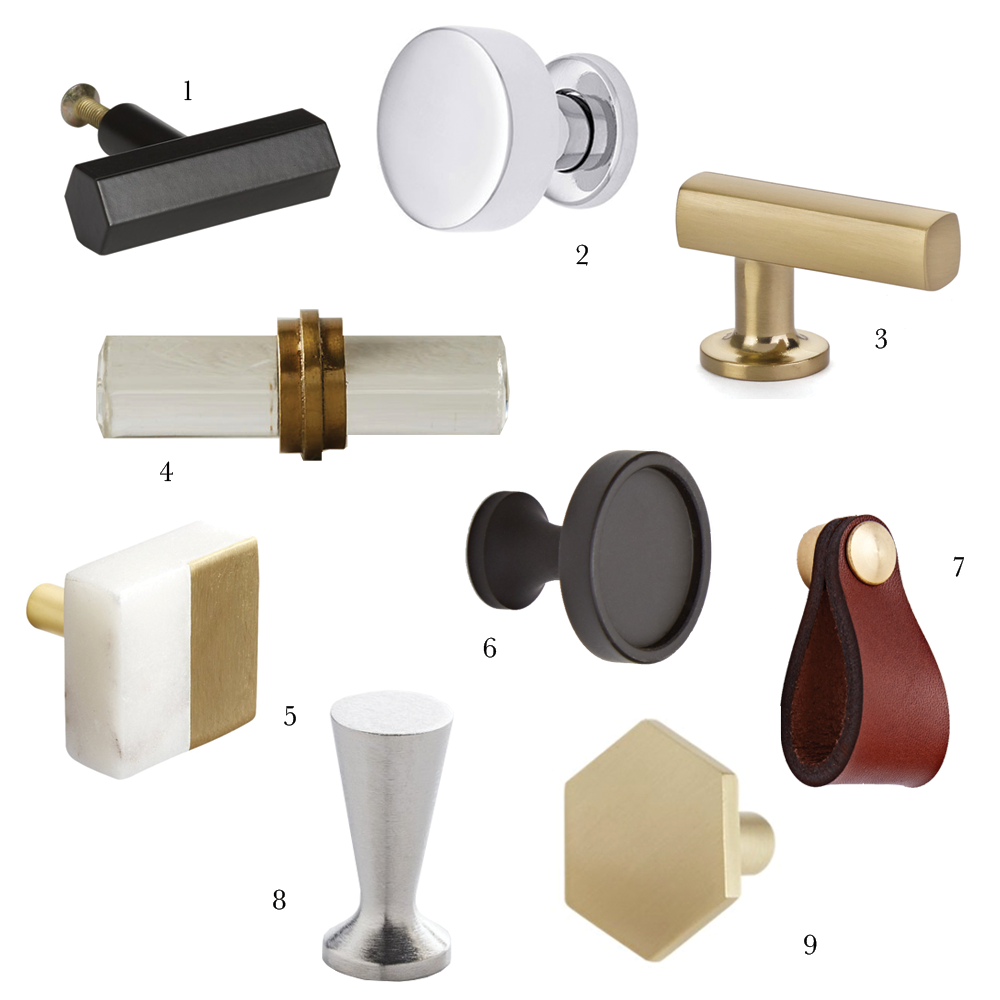 Knobs: 1  CB2 Hex Bar Knob, 2  House Of Antique Hardware Cadet Knob, 3   Emtek Freestone Finger Pull, 4  Anthropologie Tuva Knob, 5  CB2 Selene Knob  6  ...