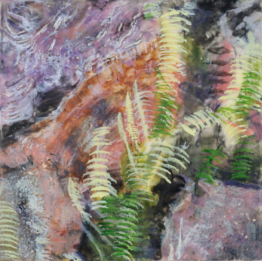 "Pahoa - encaustic (pigmented beeswax and damar resin) on wood, 18""x18"""