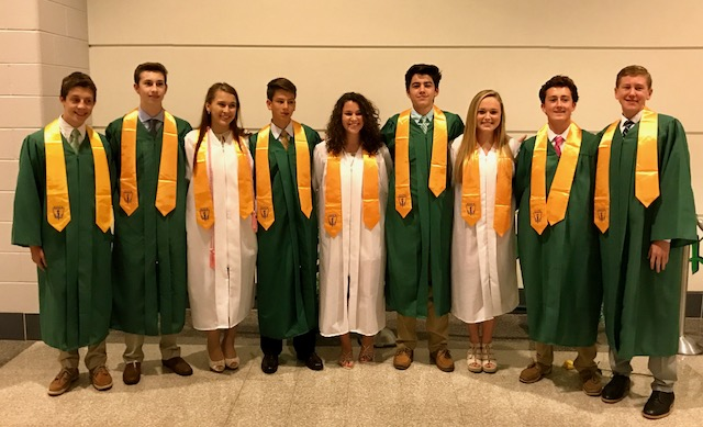 CLASS OF 2015:  October 6, 2017--Saint Elizabeth was well represented, as almost half of the class of 2015 that currently attends Bishop Shanahan High School was inducted into their Monsignor Schuyler Chapter of the National Honor Society. Eleven of the 62 new inductees from the BSHS class of 2019 were Saint Elizabeth graduates.    The group includes: Justin Amrein, Riley Brady, Robert Duncheskie, Kevin Gatti, Jessica Holowsko, Brian Ibarguen, Brittany Jones, Keenan Kirk, James Kolimago, Mira Messere, and Sophia Swiatek.    In addition, Michael Gingrich from Saint Elizabeth's Class of 2014 was inducted as a senior.    Recipients earn this honor by meeting four criteria: Character, scholarship, leadership, and service. Students were nominated based on scholarship, but had to submit a resume showing evidence and documentation of the other three areas in order to be accepted.    Congratulations to all!