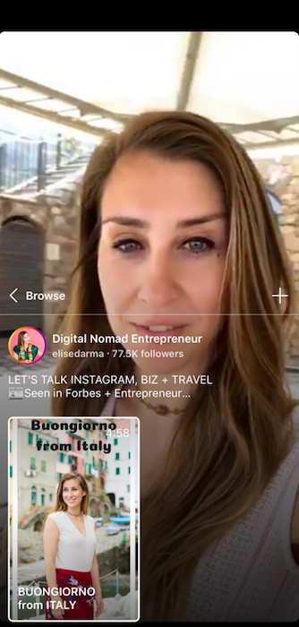 Everything you need to know about IGTV elise darma instagram live post video.png