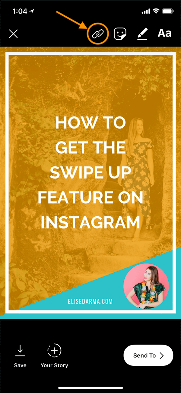 step 4 - choose your image from your camera roll - tap link icon at top elise darma swipe up feature how to step by step instagram.PNG