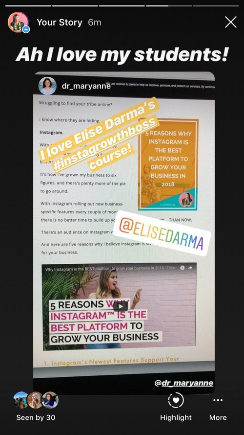 Yes – my InstaGrowth Boss students are 100% the best. P.S. are you feeling that social proof yet? 😉