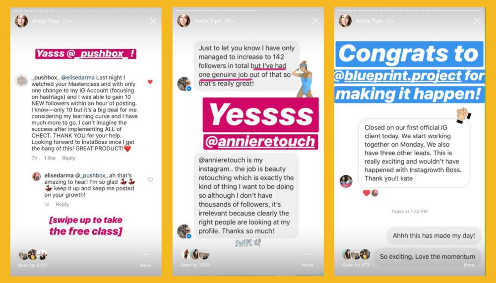elise darma customer testimonials instagram story highlights