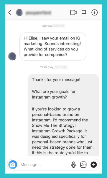 "Here's a perfect example of the most wonderful DM to receive and respond to!  💜   P.S. Curious what my ""Show Me the Strategy!"" Instagram Growth Package is?    Here are the deets!"