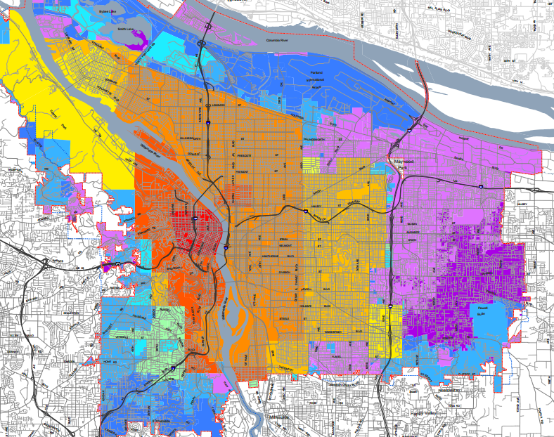 Portland's annexation map throughout the 20th Century.