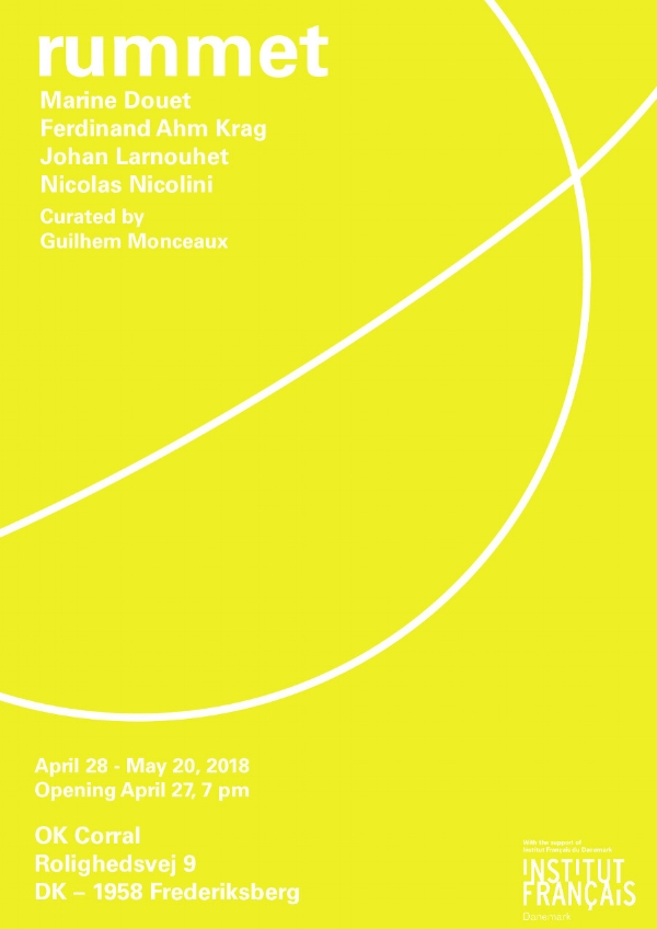 28 Avril - 20 Mai 2018  OK Corral :  http://okcorral.dk/Current-exhibition   Rolighedsveg 9  Copenhagen, DK
