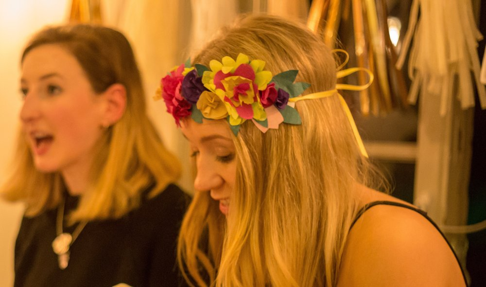 paper flower headdress - If sewing isn't your thing, why not make some gorgeous paper flowers and turn them into a fun floral headdress. Add paper leaves, sequins and glitter to make yours totally unique.£10 per headminimum 6 people