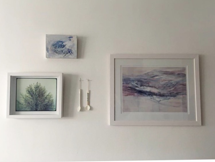 Smaller Painting at the top, 'Mothlight' Acrylic and pastel on board. Featured with a Limited Edition Print of 'Winter Sunset'. Shown with the beautiful print of photographer Moose Azim.