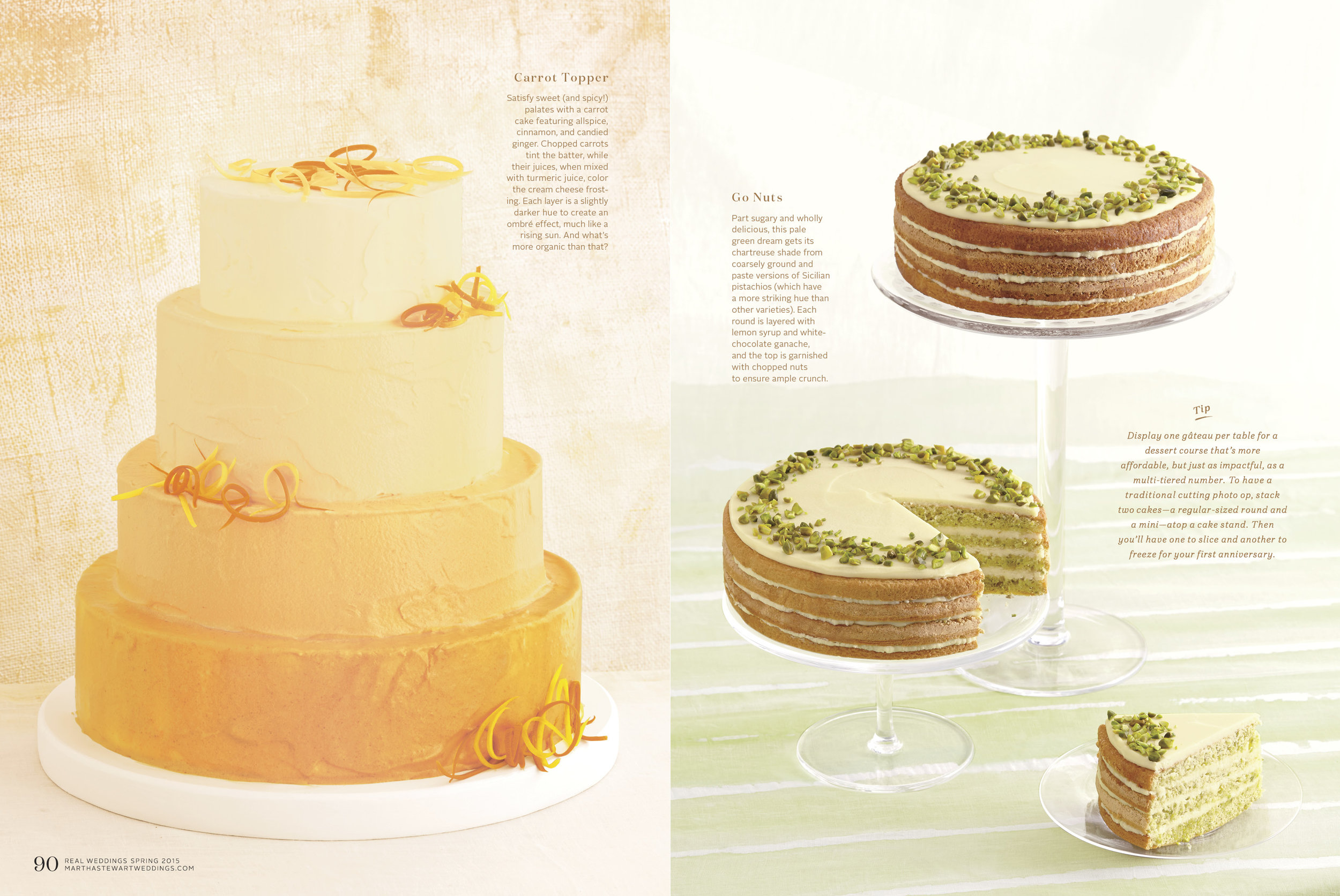 Carrot Cake and Pistachio Cakes. Photo by Linda Pugliese for Martha Stewart Weddings