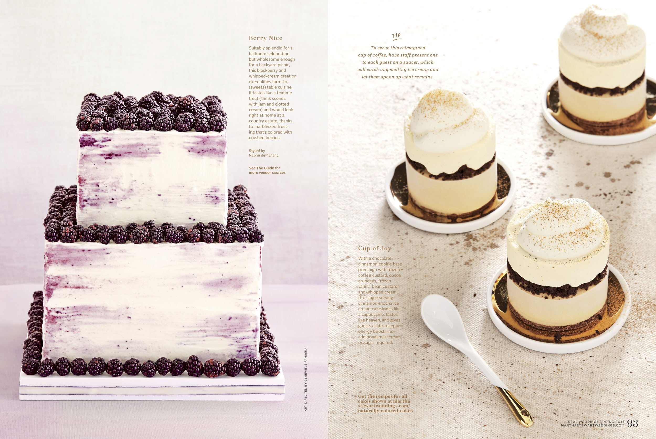 Blackberry Cake and Cinnamon Cappuccino Ice Cream Cakes. Photo by Linda Pugliese for Martha Stewart Weddings