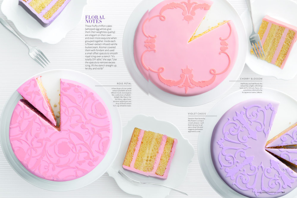 Stenciled Cakes, Martha Stewart Weddings