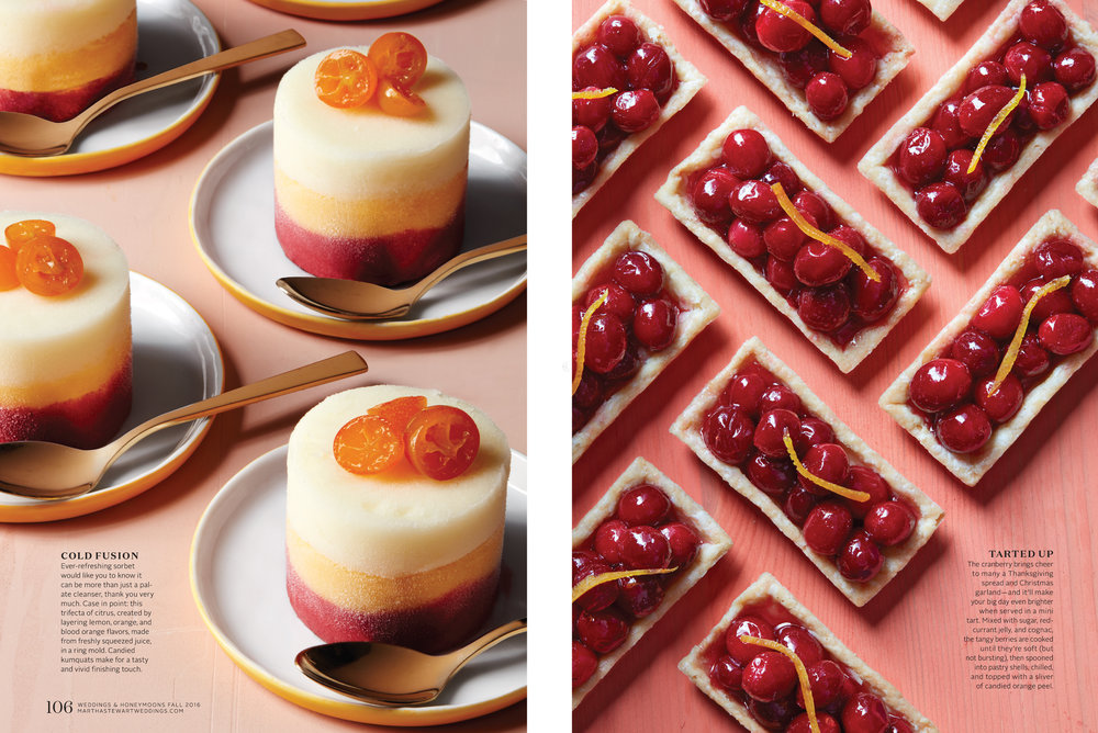 Individual Citrus Sorbet and Miniature Cranberry Orange Tarts, Martha Stewart Weddings