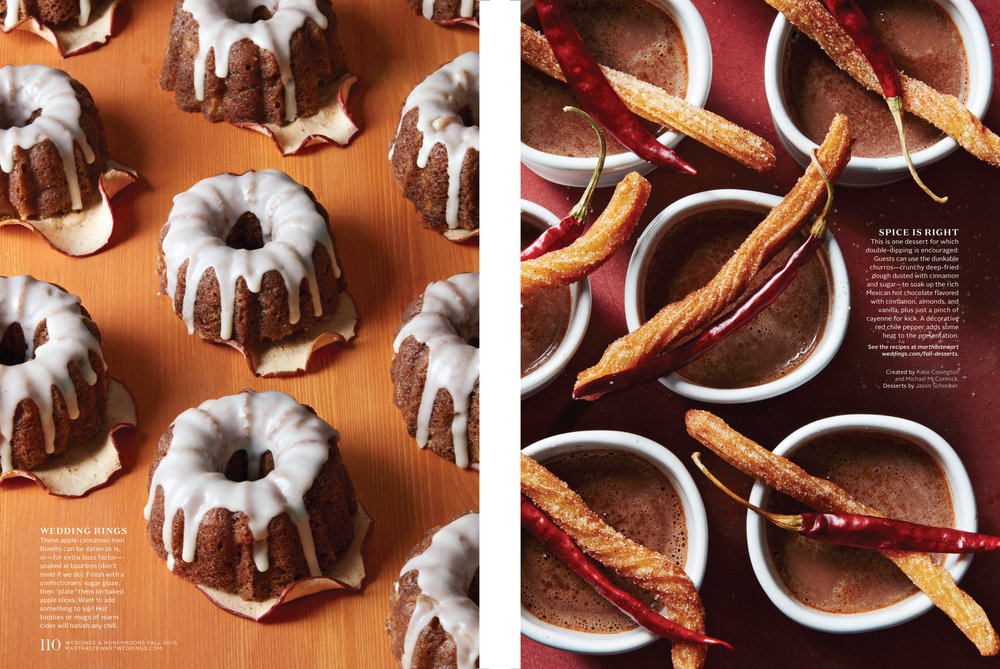 Miniature Apple Bundt Cakes and Churros with Hot Chocolate, Martha Stewart Weddings