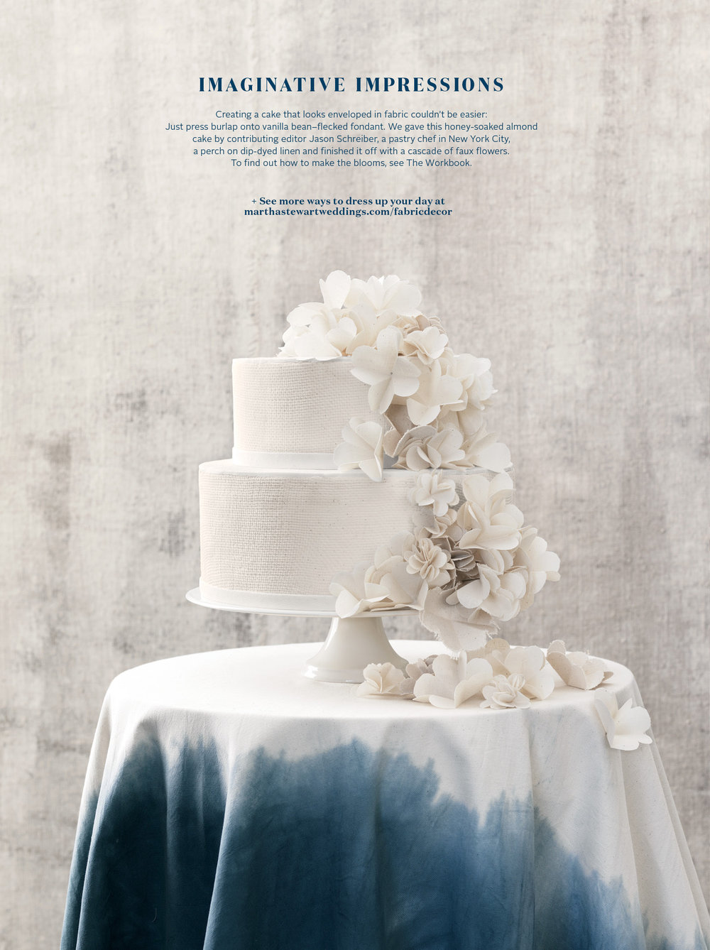Canvas Textured Cake, Martha Stewart Weddings