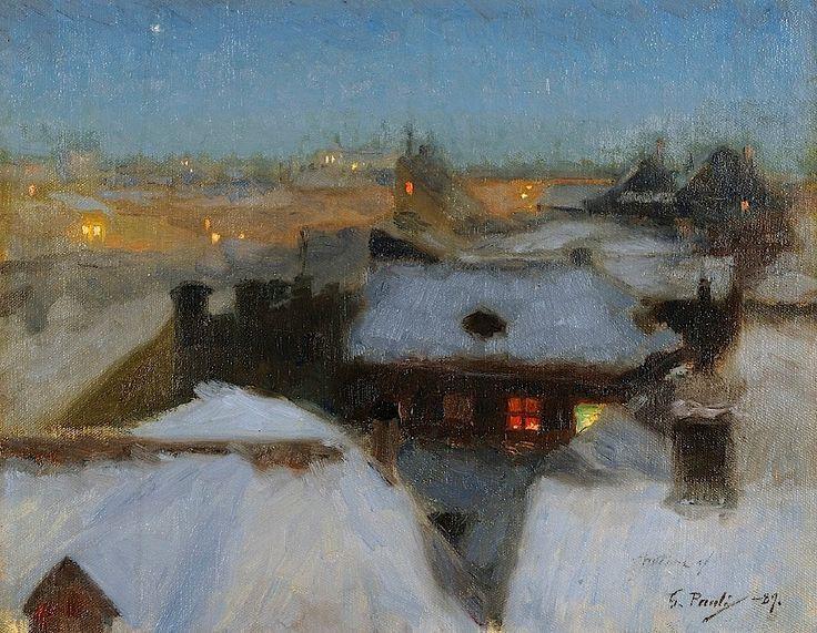 beautifuldavinci :       Georg Pauli (Swedish, 1855-1935): Winter Evening at Söder, Stockholm, 1889. Gothenburg