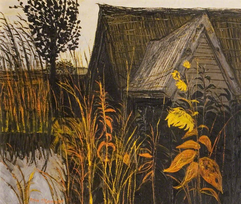 huariqueje :       Thatched Barn and Sunflower -   John Scorror O'Connor  1958    British 1913-2004