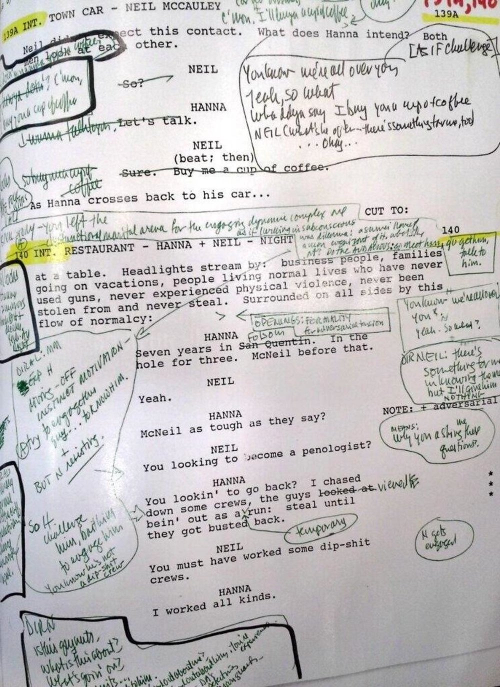 """cinephiliabeyond :     A full 5 pages of Michael Mann's densely annotated script  for the diner scene in HEAT.   Michael Mann On The Long Odysseys of 'Heat' And 'Ferrari' – Toronto Q&A    """"ACTION COMES FROM DRAMA, AND DRAMA IS CONFLICT: WHAT'S THE CONFLICT?"""""""