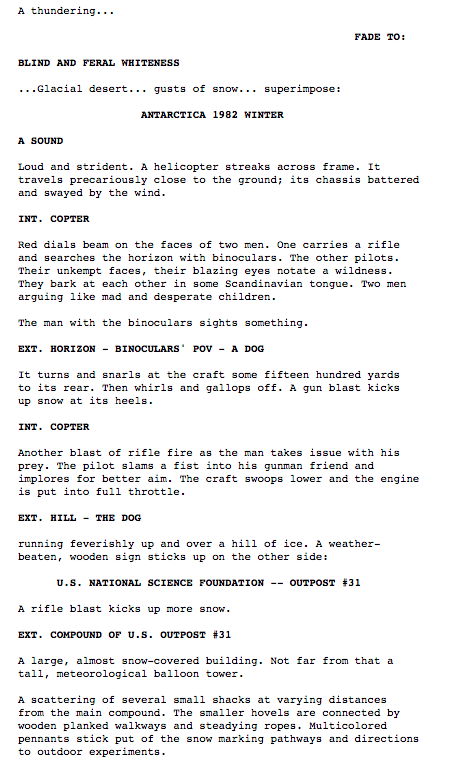 thescriptlab :      Page 1: The Thing.
