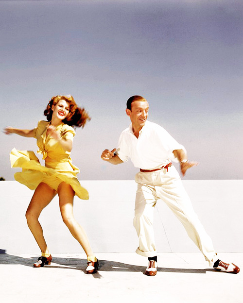 vintagesonia :      Rita Hayworth and Fred Astaire practicing the 'Shorty George' routine from  You Were Never Lovelier  on top of the studio roof, 1942.