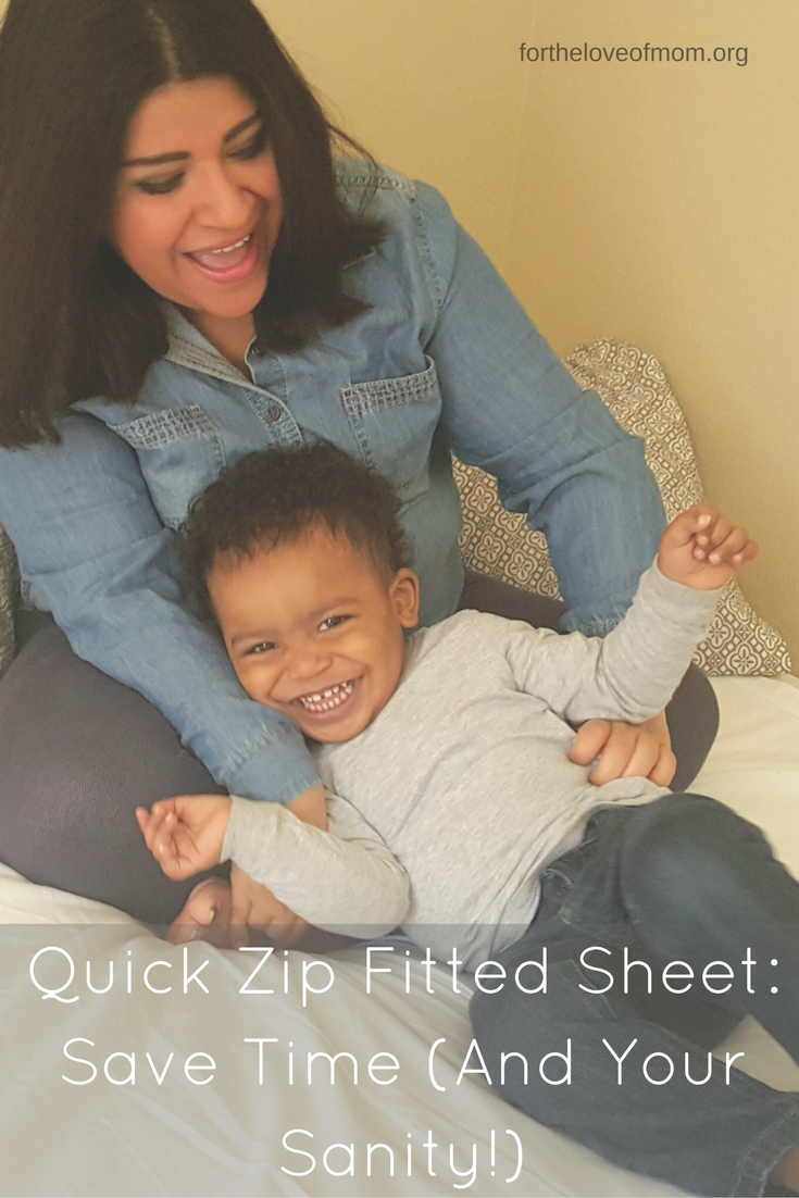 Save Time (and your sanity!) with this innovated easy to zip on and off sheet. You'll never need a fitted sheet again. Click to find out more!