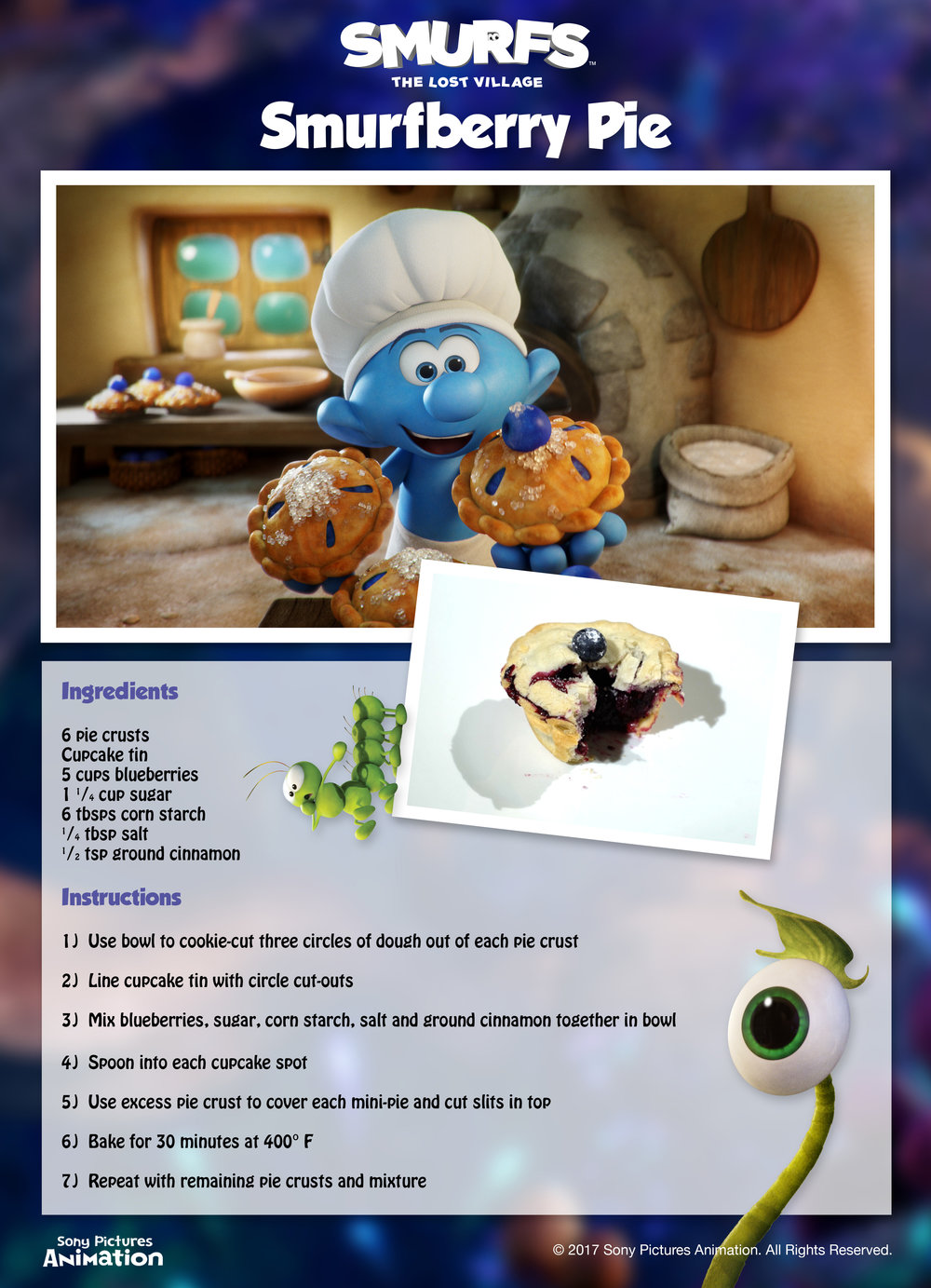 Smurfberry Pie Recipe. Smurfs The Lost Village Movie. Activities for Kids.