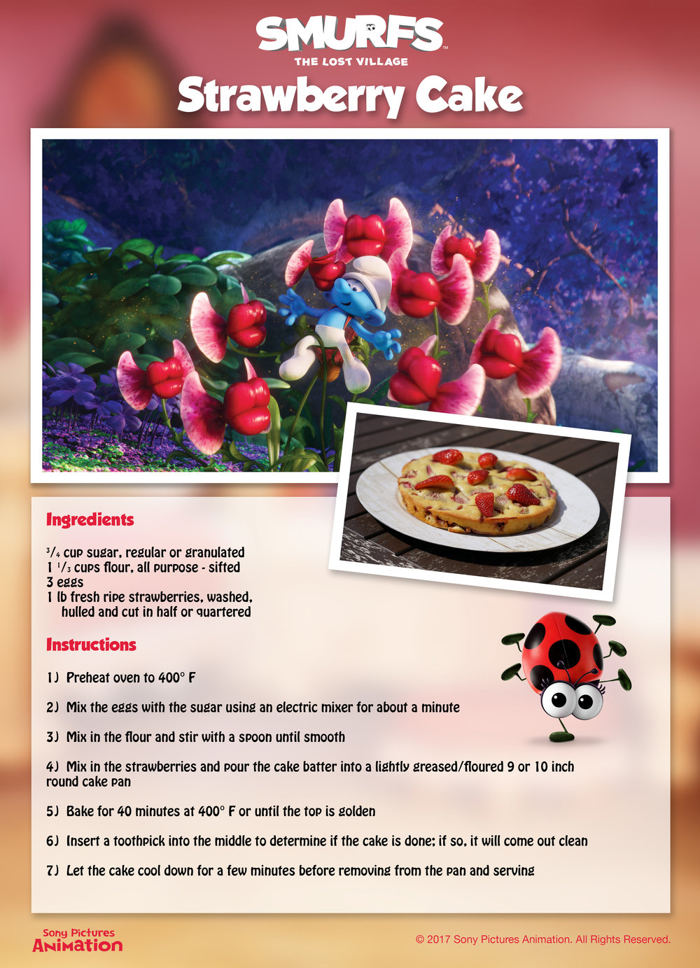 Smurfs The Lost Village Recipes for Kids. Strawberry Cake Recipe. Fun Smurfs Activities.