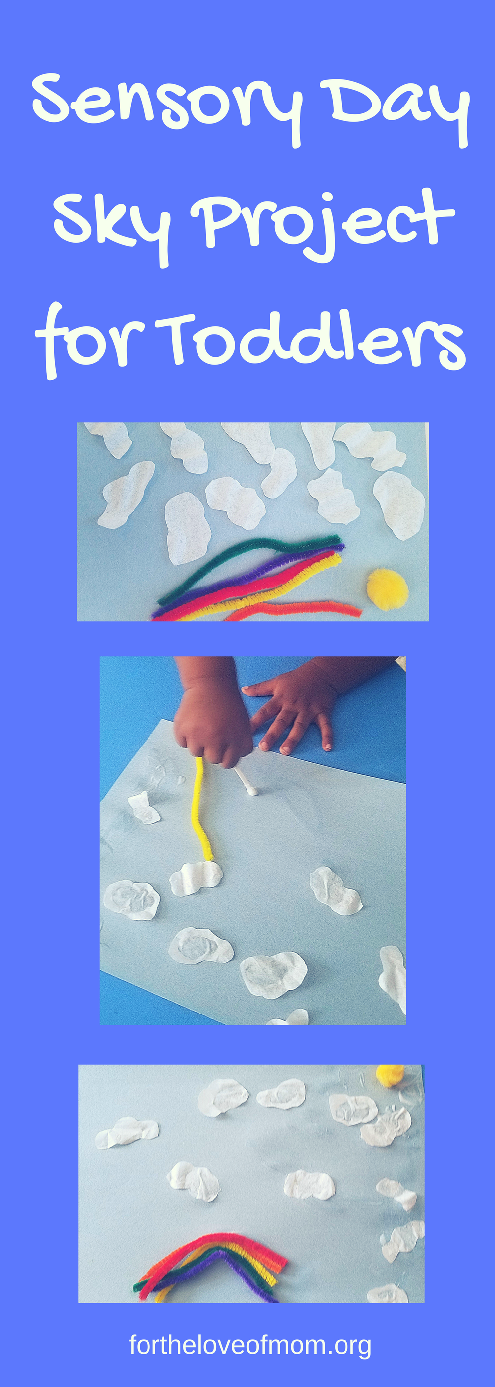Day Sky Sensory Activity | Cloud Toddler Craft | Sky Toddler Craft | Day Sky Activity for Toddlers | Easy Toddler Crafts | Simple Activities for Toddlers | Playschool Crafts for Toddlers | #toddlercrafts | #toddleractivity | #cloudcraft | www.fortheloveofmom.org