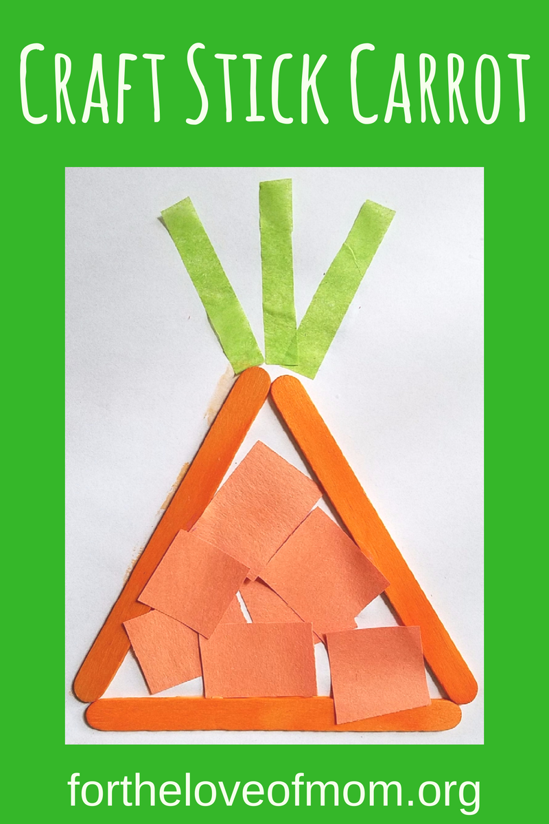 Craft Stick Carrot | Veggie Crafts for Toddlers | Veggie Activity for Preschoolers | Kids Crafts | #toddlers | #preschoolers | #kidsactivities | www.fortheloveofmom.org