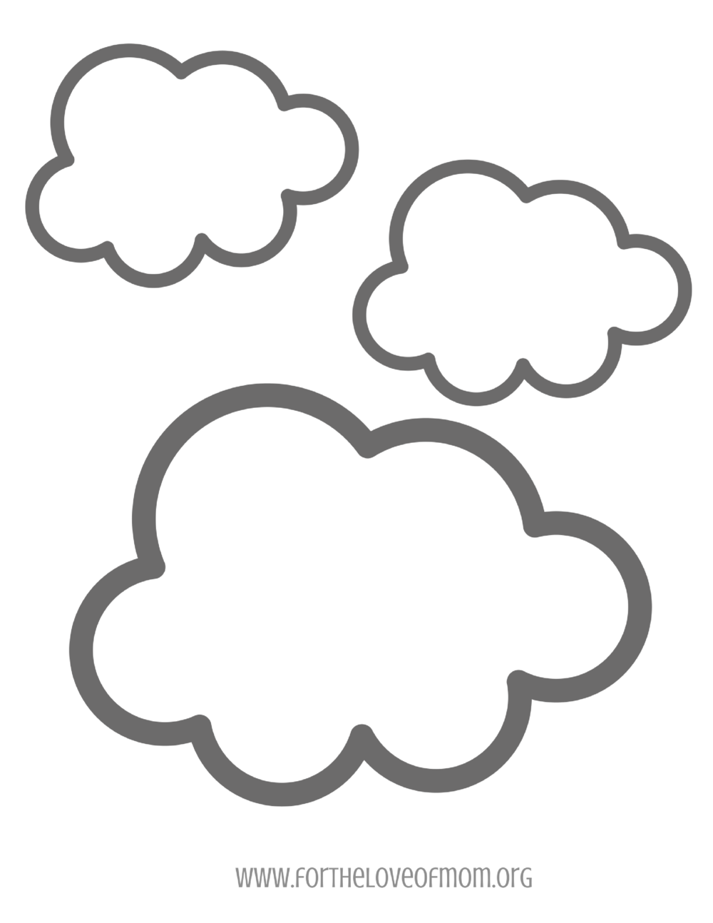 Three Clouds Coloring Page -