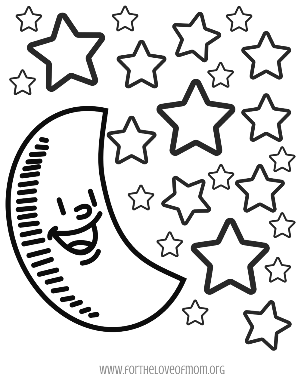 Moon & Stars Coloring Page -