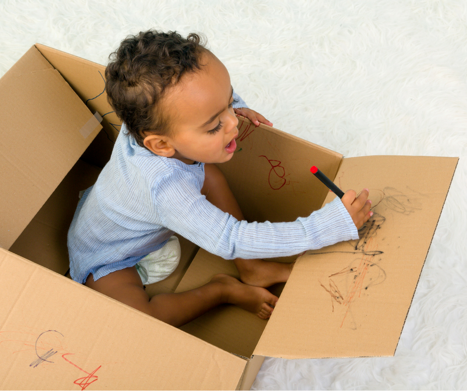 Tot School Activities _ Toddler _ Drawing _ Cardboard _ Box _ www.fortheloveofmom.org